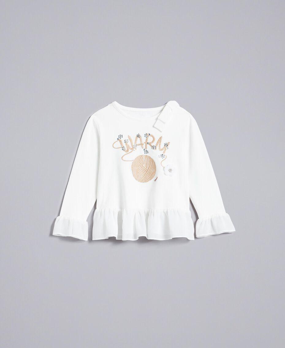 T-shirt in cotone con strass Off White Bambina FA822A-01