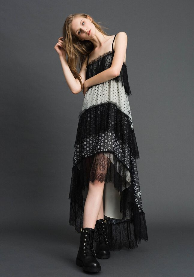Printed georgette long dress with lace