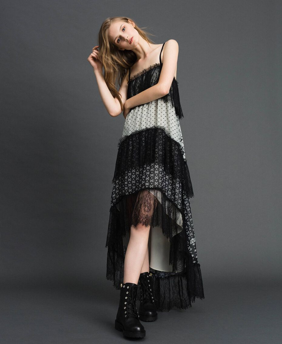 """Printed georgette long dress with lace Black and Vanilla """"Air De Neige"""" Mix Print Woman 192MT2393-01"""