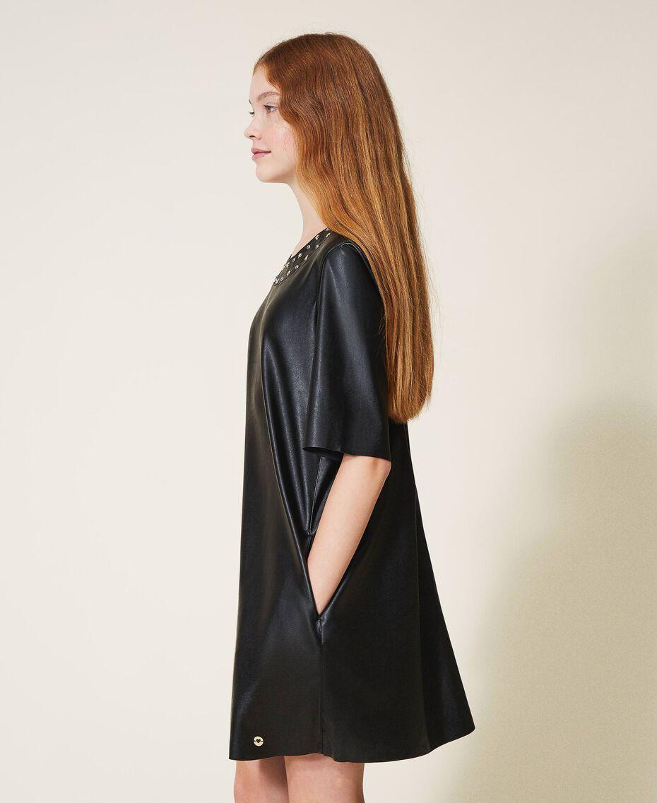 Платье из искусственной кожи со звездочками Черный Pебенок 202GJ2831-02