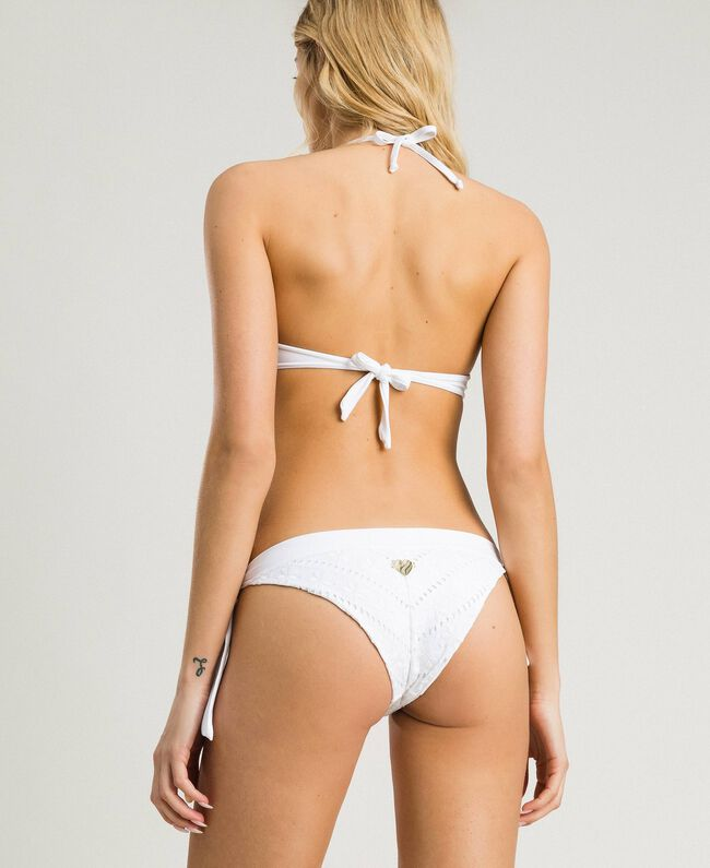 Push-up bikini top with broderie anglaise embroidery White Woman 191LBME44-03
