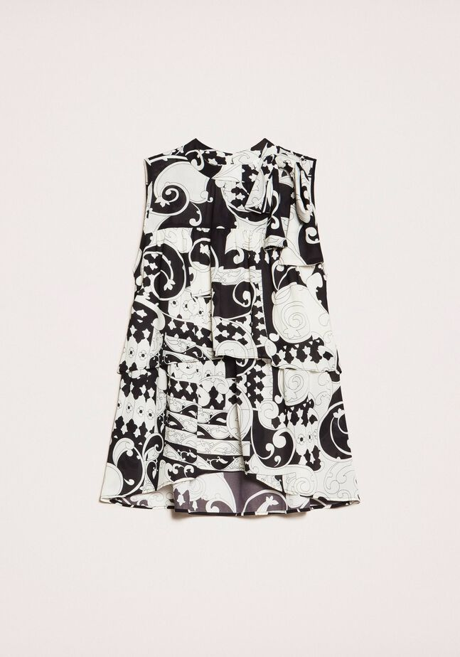 Printed georgette top with flounces