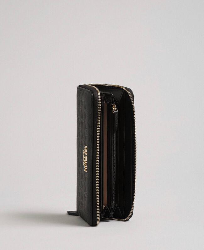 Heart print faux leather wallet Black Woman 192MA7015-03