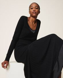 Robe en laine mélangée avec fond de robe Noir Femme 202TT3053-04
