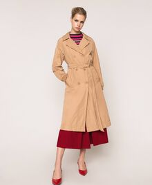Double breasted taffeta trench coat Light Brown Woman 201ST2072-01