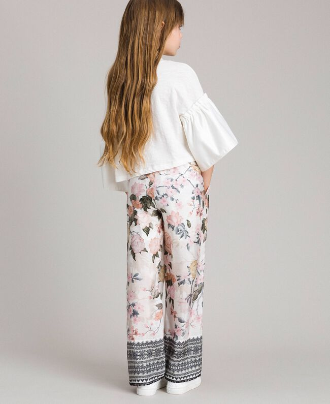 Floral viscose trousers with lace print Ramage Butterfly Print Child 191GJ2522-03