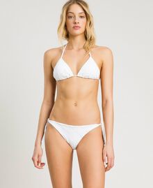 Thong with broderie anglaise embroidery White Woman 191LBME88-02
