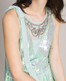 Georgette-Kleid mit Pailletten Aquamarin Frau 191TP2581-04