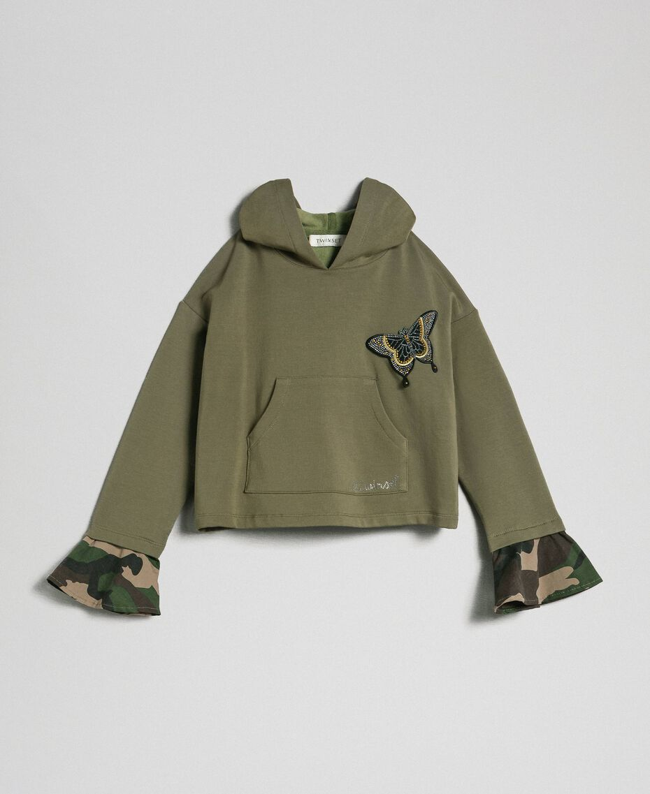"""Butterfly patch hoodie """"Alpine"""" Green / Camouflage Print Child 192GJ2560-0S"""