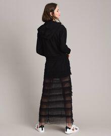 Long jupe plissée à volants Noir Femme 191MP2232-03