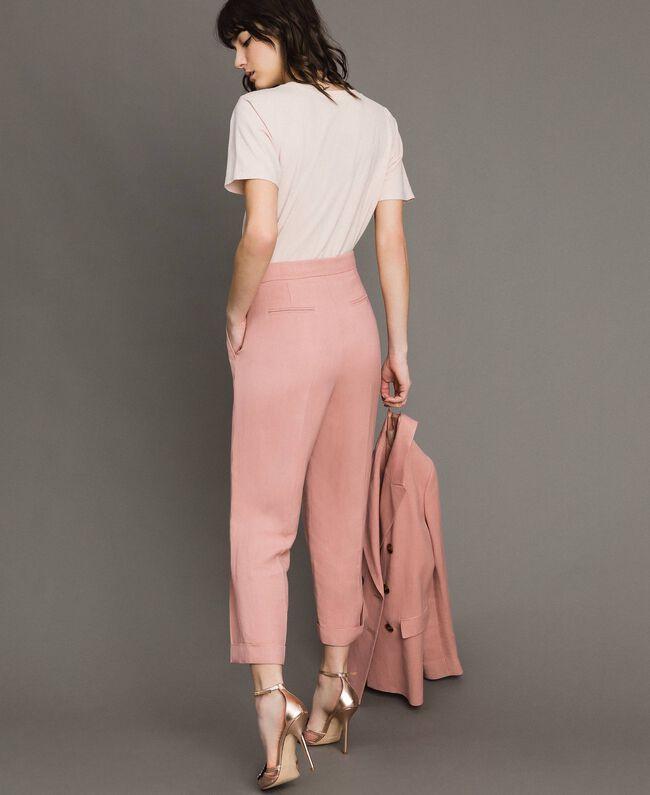 Cropped Hose aus Leinenmischung Perlrosa Frau 191TP2202-03