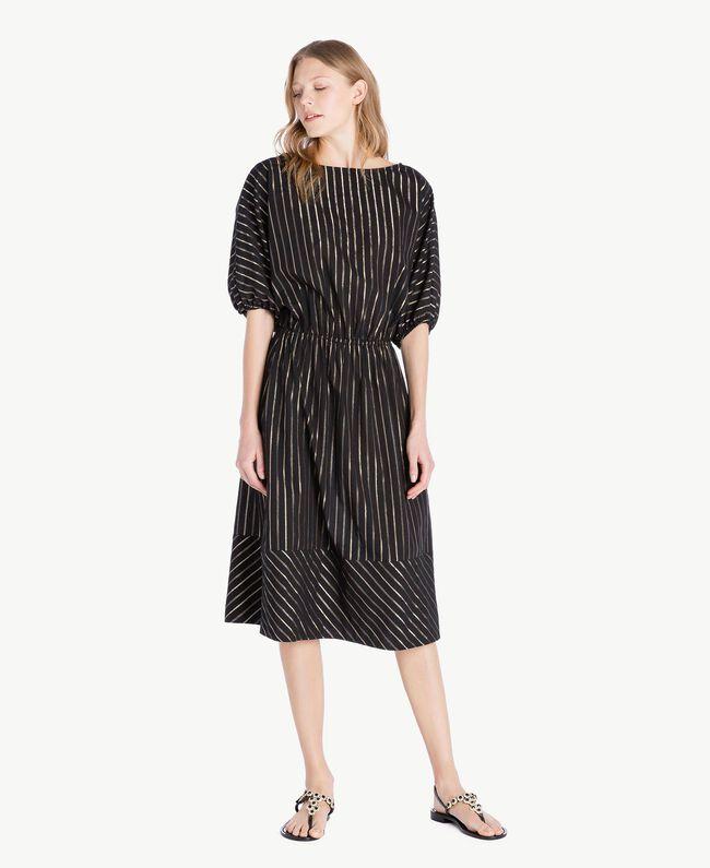 Kleid aus Jacquard Jacquard Schwarz / Goldene Streifen Frau TS82VC-01