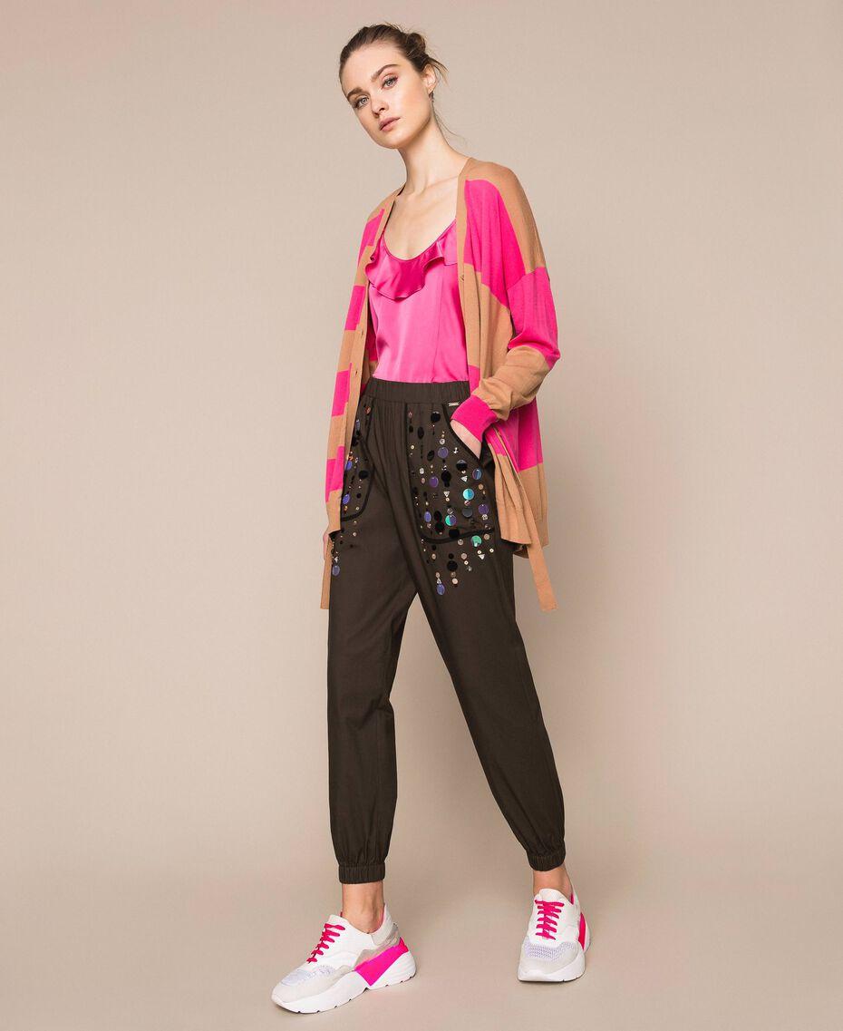Поплиновые брюки-джоггеры с вышивкой Зеленый Вяз женщина 201ST2026-0T