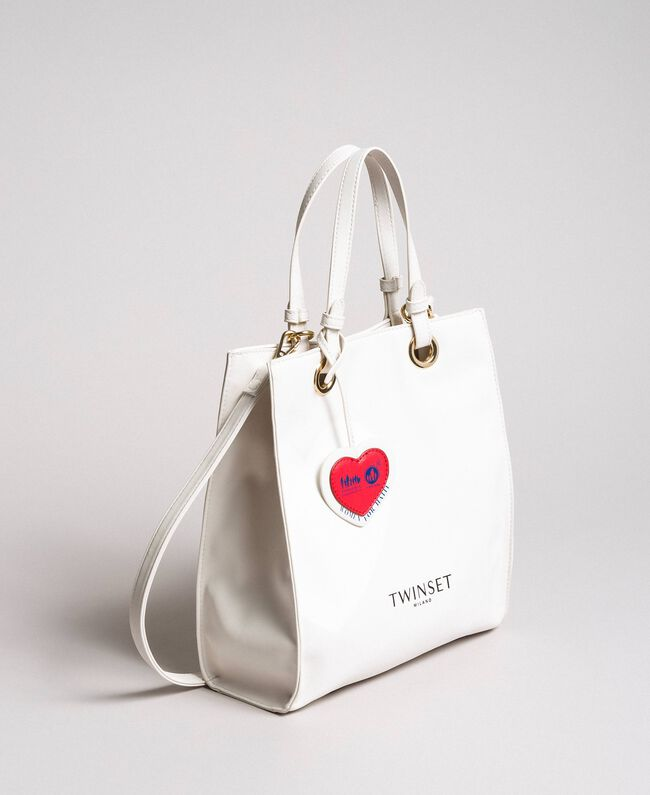 Mon Coeur Tote-Bag aus Lederimitat Weiß Vanille Frau 191TQ701A-01
