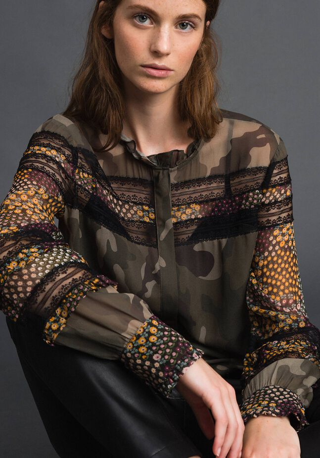 Camouflage and floral print shirt