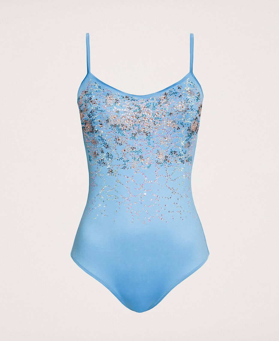 "One-piece swimsuit with rhinestones ""Waterfall"" Blue Woman 201LBMA00-0S"