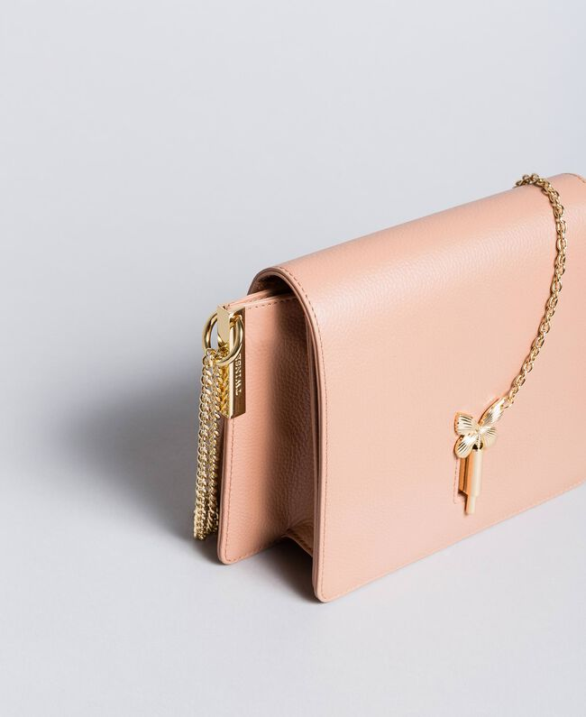 """Leather shoulder bag """"Pale Pink"""" Pink with Gold Butterfly clasp Woman OA8TEA-03"""