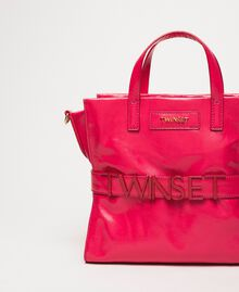 """Medium leather shopper with logo """"Jazz"""" Pink Woman 201TO8091-03"""