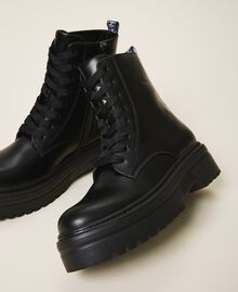 Faux leather combat boots with logo Black Woman 202MCP080-03