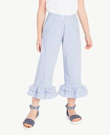 Pantalon popeline Jacquard Grand Bâtonnet Bleu Enfant GS82LT-02