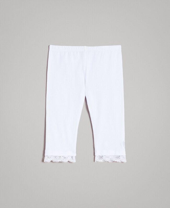 Legging en jersey orné de dentelle Blanc Enfant 191GB2182-01