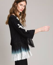 Floral embroidery and fringe blouse Black Woman 191TT2130-02