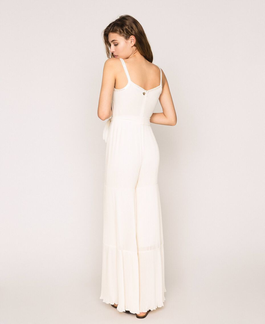 Pleated georgette jumpsuit with embroidery Antique White Woman 201TT2091-03