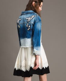 Denim jacket with floral patch Bleached Shades Woman 191TT2050-04