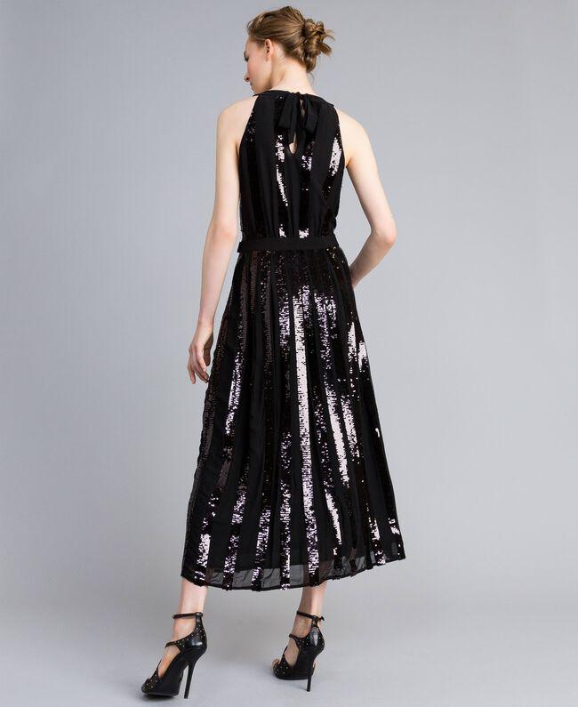 Robe longue en crêpe georgette avec paillettes Noir Femme PA82J1-03