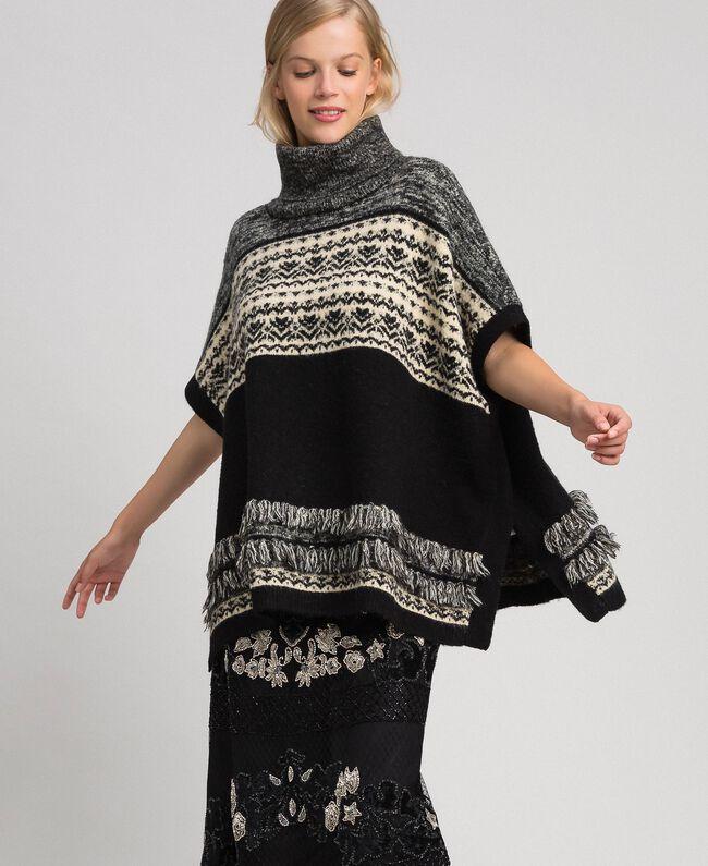 Mohair jacquard blend poncho Black Woman 192LL3AJJ-01