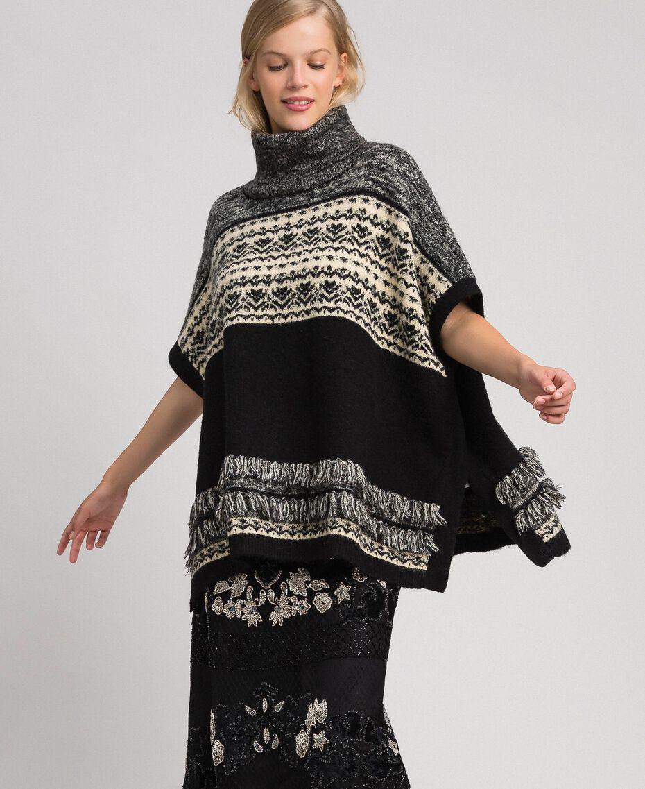 Poncho en mélange de laine et mohair jacquard Noir Femme 192LL3AJJ-01