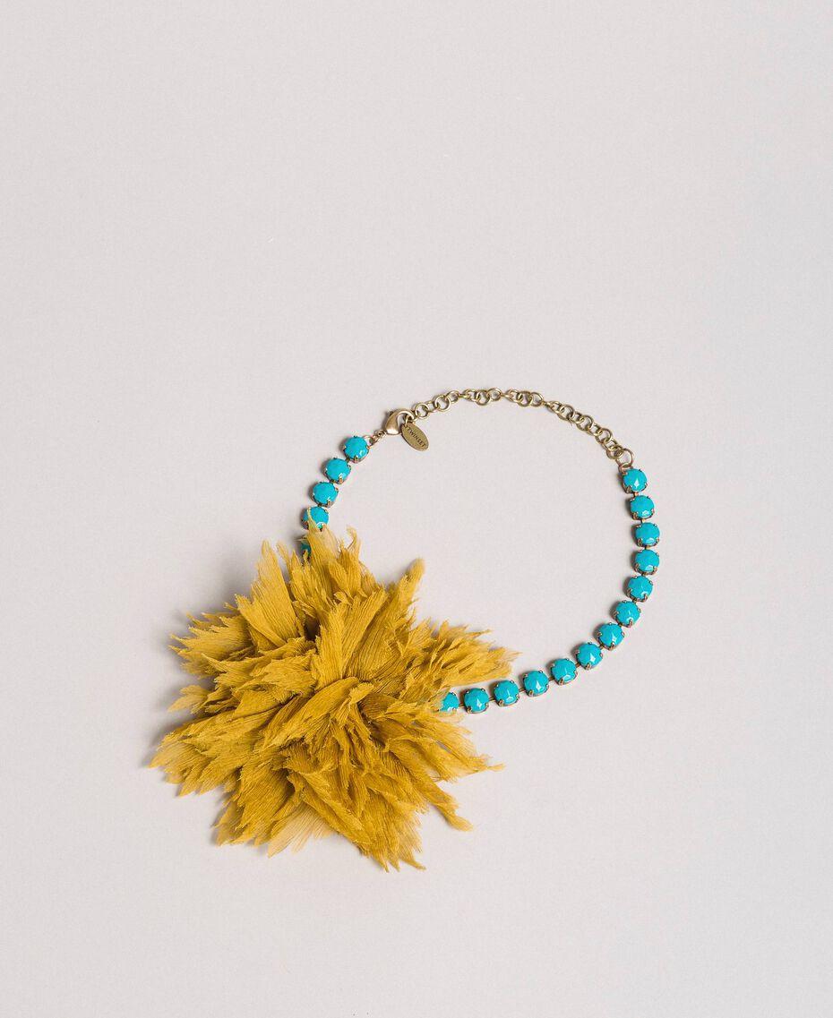 "Strass-Halskette mit Seidenblume ""Honey Gold"" Frau 191TO5343-01"