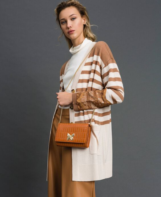 Small printed leather shoulder bag