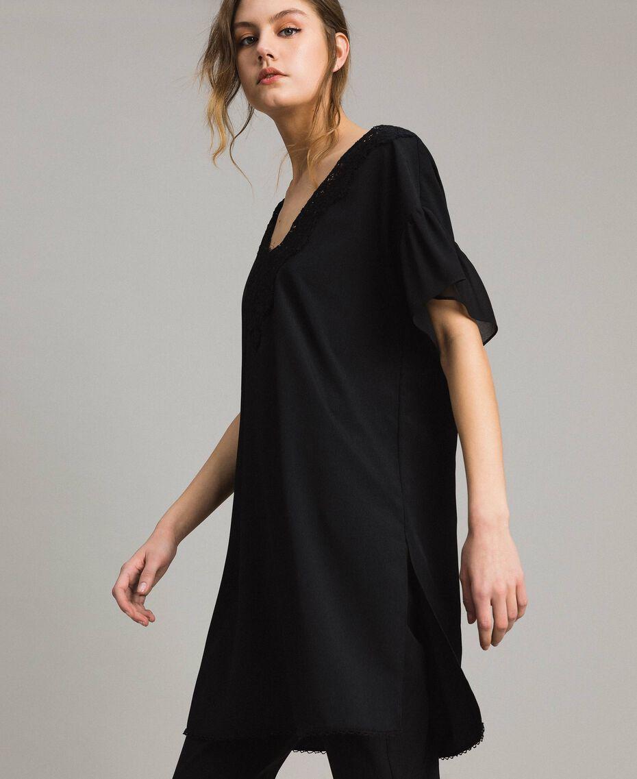 Robe tunique en crêpe de Chine et dentelle Noir Femme 191ST2063-02