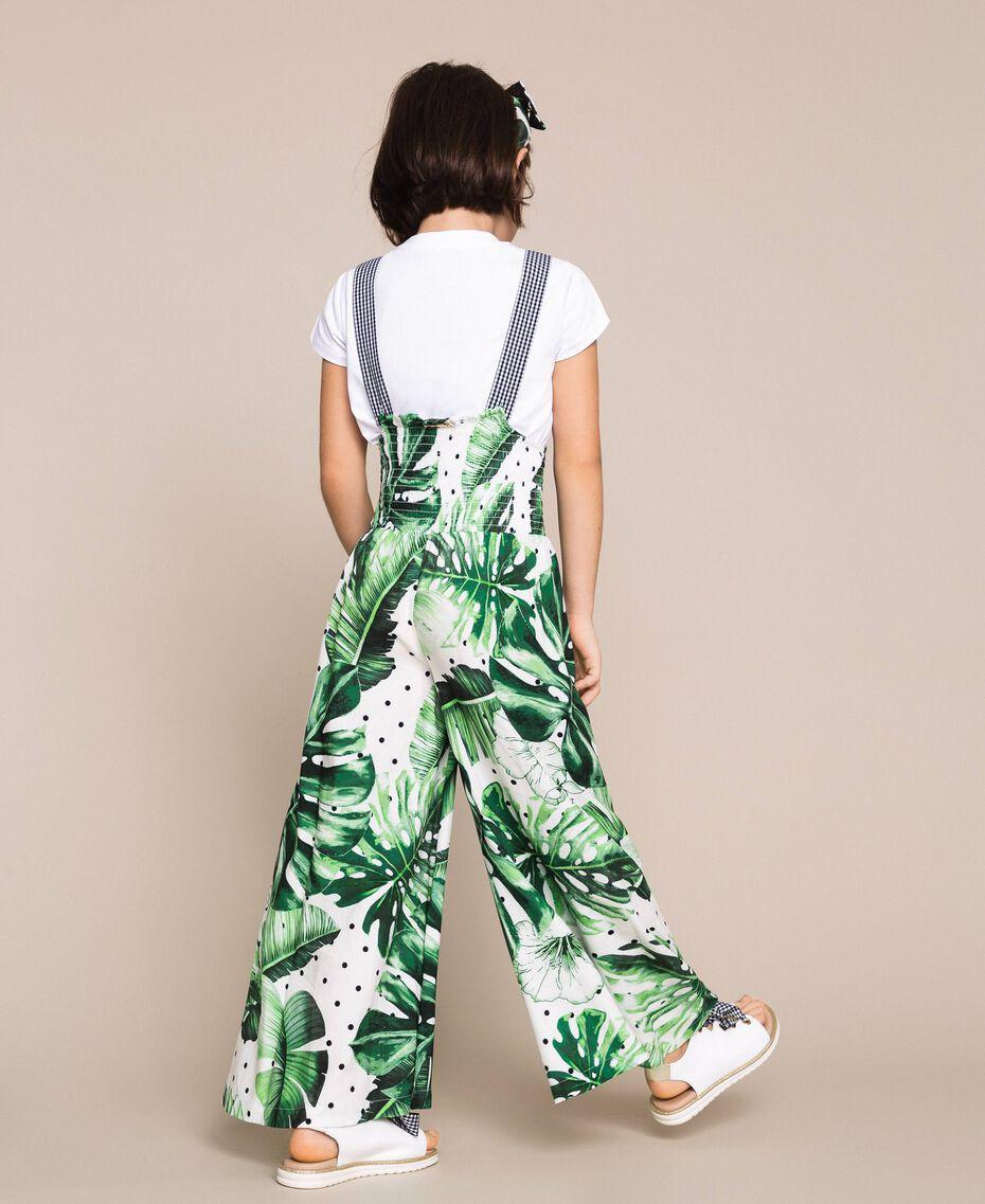 Tropical print jumpsuit/trousers Green Polka Dot Tropical Print / Vichy Child 201GJ2301-03