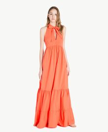 Langes Kleid aus Popeline Orange Frau TS821C-01