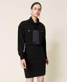Robe en maille avec empiècements en satin Noir Femme 212AP3191-06
