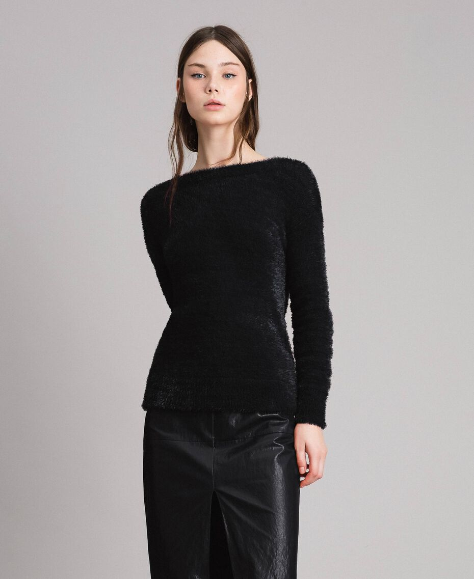 Fur stitch jumper Black Woman 191TP3421-02