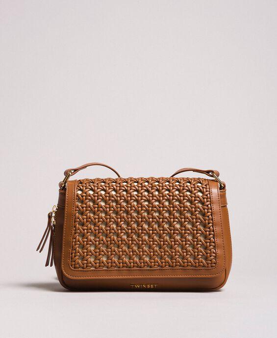 Plaited faux leather shoulder bag