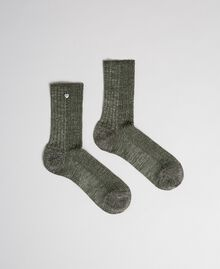 "Ribbed socks with lurex and logo ""Colonial"" Green Woman 192TO5418-01"