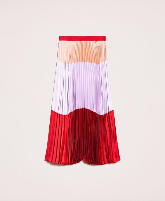 Pleated long satin skirt