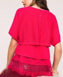 Maglia-cardigan in misto lino con top Rosa Selvatica Donna 201MT3022-06