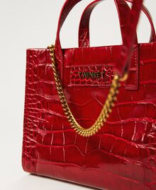 """Small leather Twinset Bag with crocodile print """"Cherry"""" Red Croc Print Woman 202TB7111-02"""