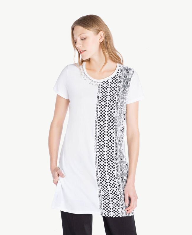 Embroidered maxi T-shirt White Woman TS829R-01