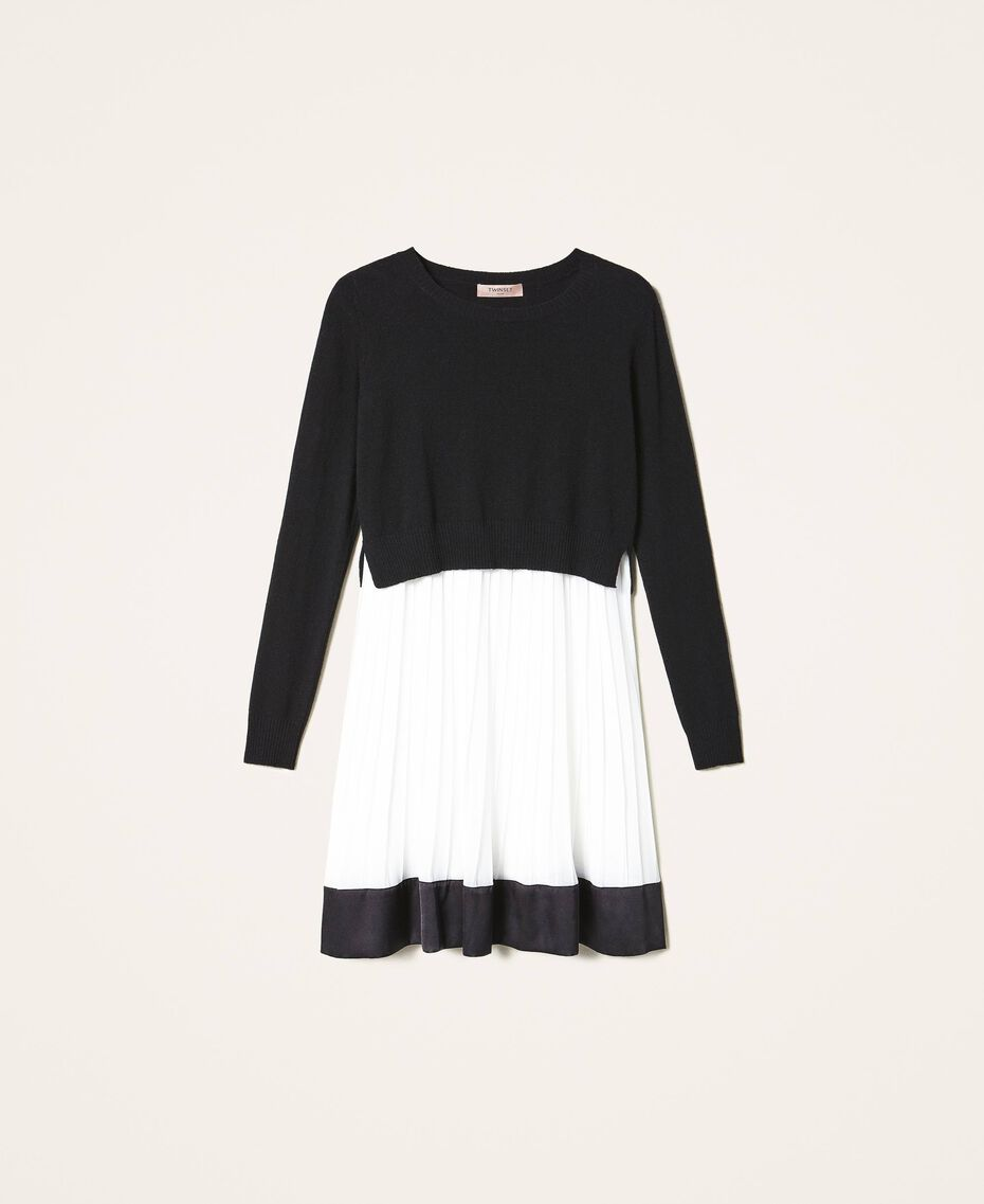 "Slip dress with wool blend jumper Bicolour Black / ""Snow"" White Woman 202TT3052-0S"