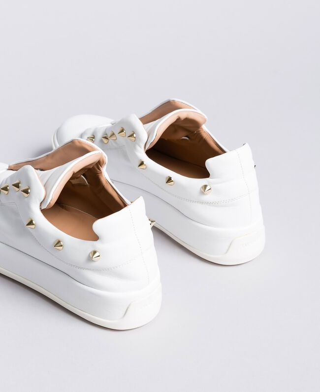 Leather studded sneakers White Snow Woman CA8TFA-03