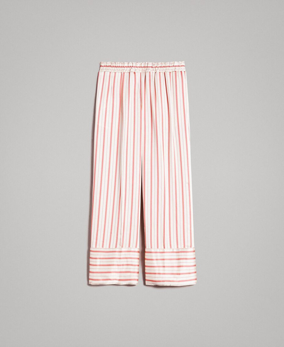 Striped satin trousers Pearl Pink Striping Woman 191TP245B-0S