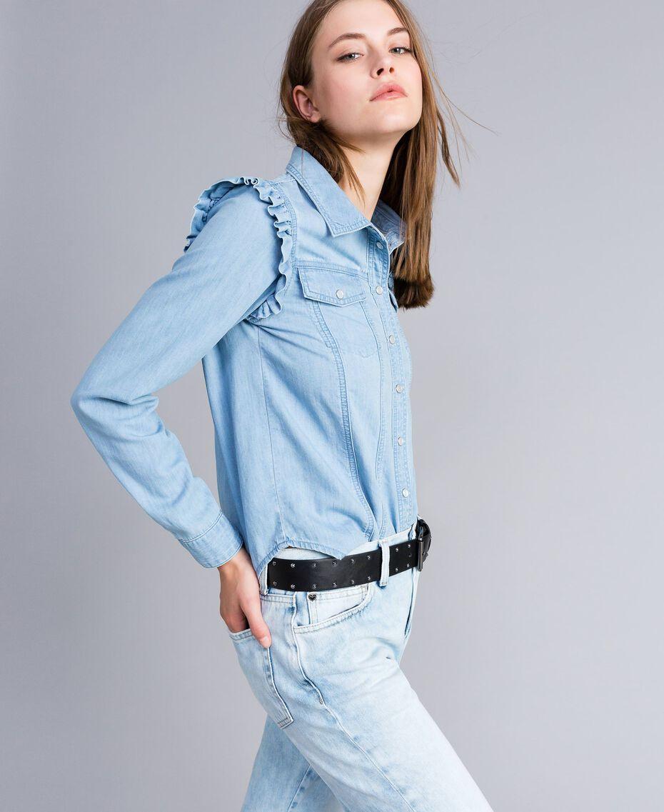 Camicia in denim con ruches Denim Blue Donna JA82U4-01