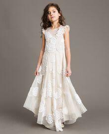 Robe longue en mousseline avec broderies Bicolore Chantilly / Blanc Cassé Enfant 191GJ2Q30-02