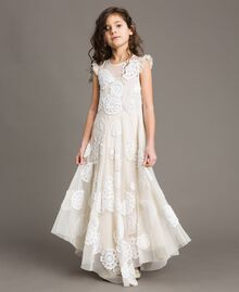 Vestido largo de muselina con bordados Bicolor Chantilly / Off White Niño 191GJ2Q30-02